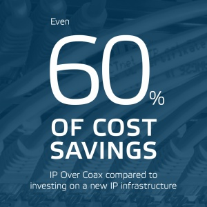 Even 60 percent of cost savings IP Over Coax compared to investing on a new IP infrastructure